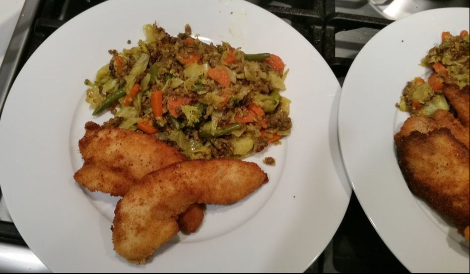 Chop Suey with crumbed chicken