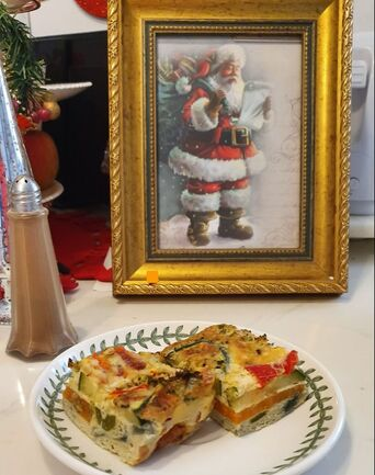 Vegetable frittata with framed Father Christmas