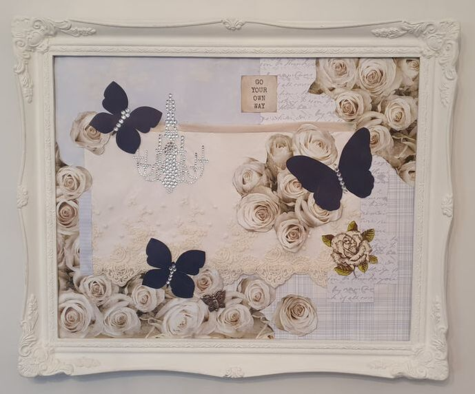 Butterflys and Roses, mix media collage by Dora Bramden.
